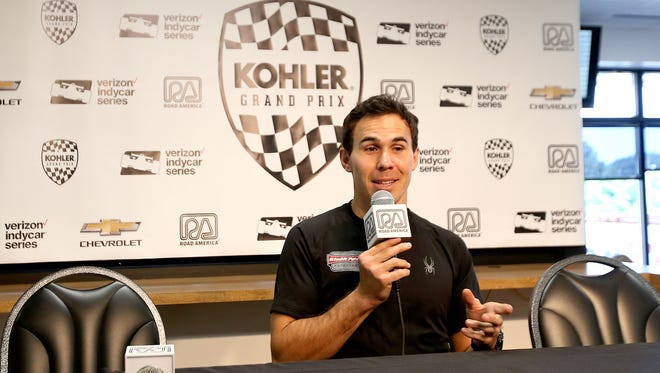 Robert Wickens fields questions before his first IndyCar practice session at Road America.