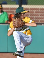 Will Pflaum pitches in the sixth inning of the Great Lakes Region championship game.