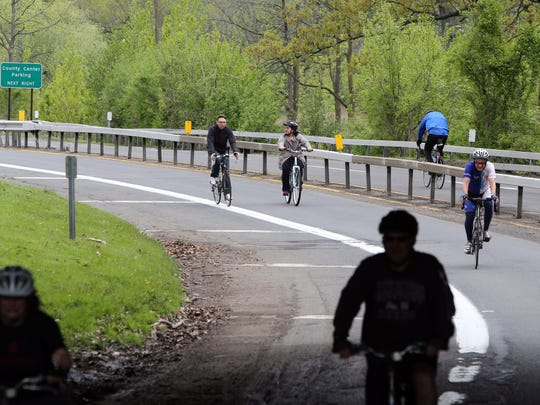 Riders on opening day of the 43rd annual Bicycle Sundays