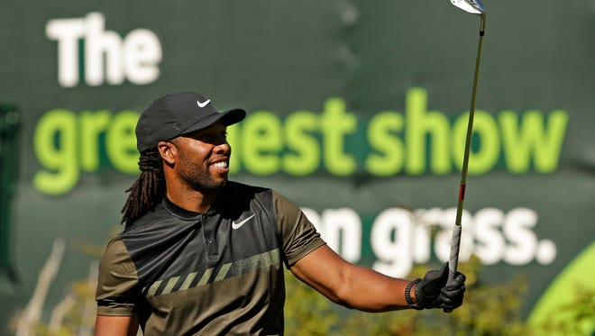 Arizona Cardinals star Larry Fitzgerald hits his tee shot on the 16th hole during the Annexus Pro-Am at TPC Scottsdale on Feb. 1, 2017 at Waste Management Phoenix Open in Scottsdale, Ariz.