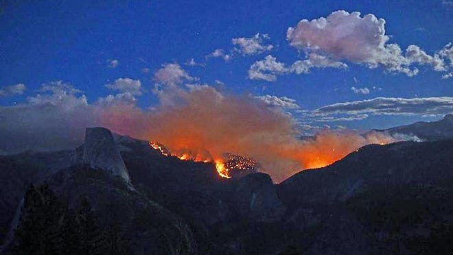 Yosemite Naitonal Park shared this photograph of the Meadow Fire, whose size quadrupled overnight.