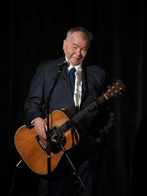 John Prine performs during Max Barry's memorial service at the Belcourt Theatre in Nashville, Tenn. Tuesday, Aug. 1, 2017.