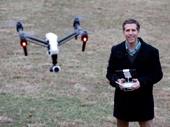 Vincent Garrison of Nanuet, owner of Flying Films NY, uses drones equiped with HD cameras and GPS tracking to assist realtors market and sell properties. Thursday, Jan. 14, 2016.