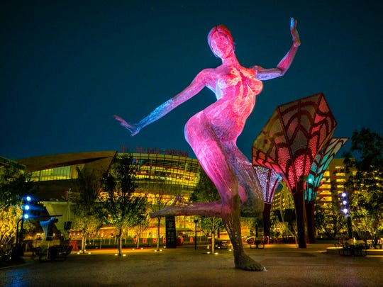 Bliss Dance by Marco Cochrane is a breathtaking 40-foot-tall sculpture in The Park, a new outdoor entertainment district on the Strip.