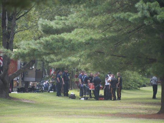 Emergency personnel respond to a hazmat assignment on Old Borton's Rd. in Cherry Hill. Friday, August 1, 2014.