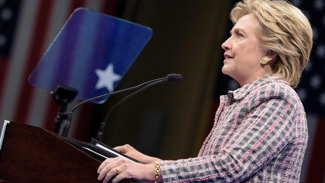 Democratic presidential nominee Hillary Clinton speaks during a rally about national service at the Sunrise Theatre on September 30, 2016 in Fort Pierce, Florida.
