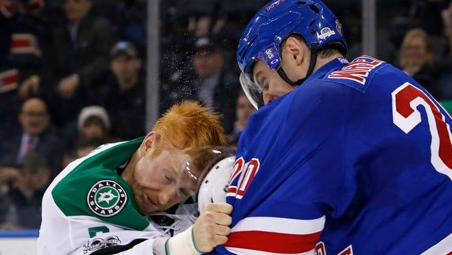 Rangers forward Chris Kreider was fined for striking Stars forward Cody Eakin with a helmet.