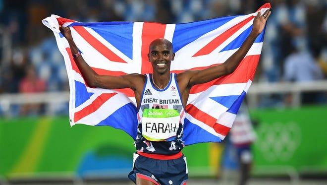 Mo Farah celebrates winning the Men's 5000m Final during the athletics event at the Rio 2016 Olympic Games.