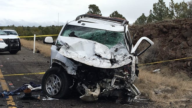 A suspect crashed a vehicle, carjacked a white SUV, then collided with a semitruck southbound on Interstate 17 in Yavapai County on Feb. 12, 2017, according to the Arizona Department of Public Safety.