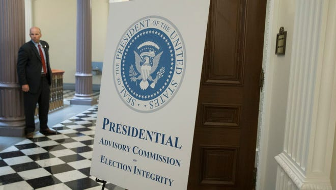 Outside a meeting of the Presidential Advisory Commission on Election Integrity.