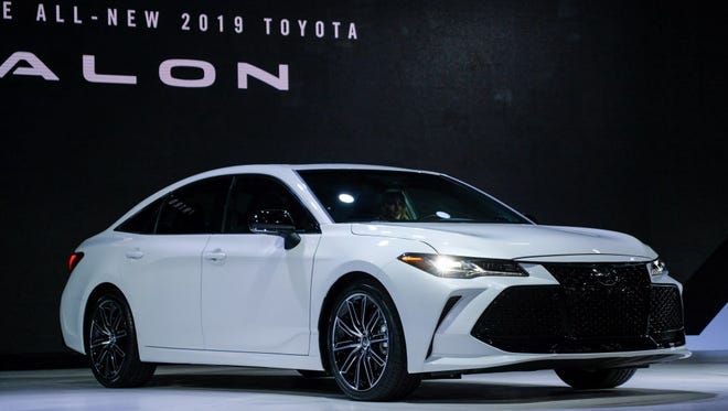 The 2019 Toyota Avalon Touring model is seen during the reveal at the 2018 North American International Auto Show at Cobo Center in Detroit on Jan. 15.