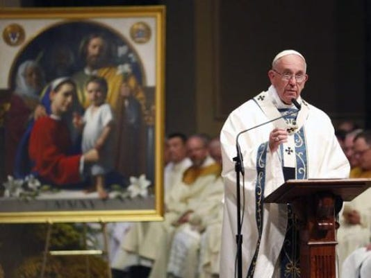 Pope Francis speaks during a Mass at Cathedral Basilica of Sts. Peter and Paul, Saturday, Sept. 26, 2015, in Philadelphia.