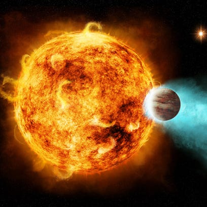 Distant, massive planet spirals toward a fiery death into its sun