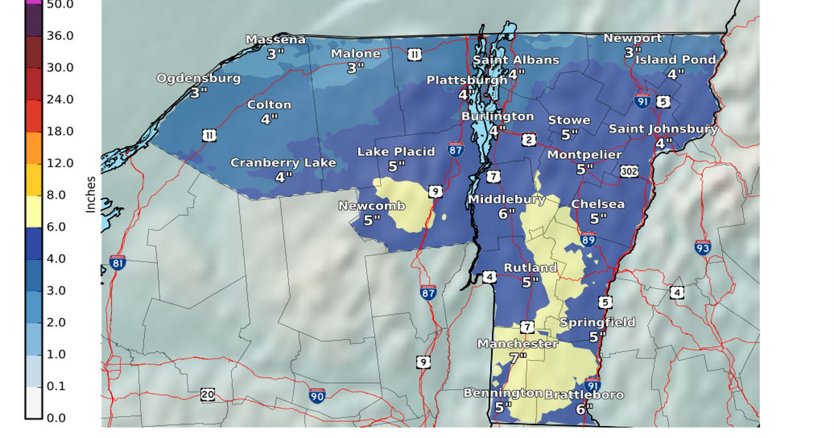 Northern Vermont could see 3 to 6 inches of snow Friday
