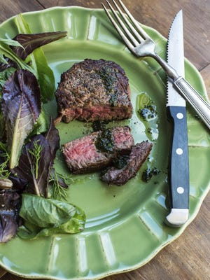 This dish of filet mignon with basil pistou is from a recipe by Katie Workman.