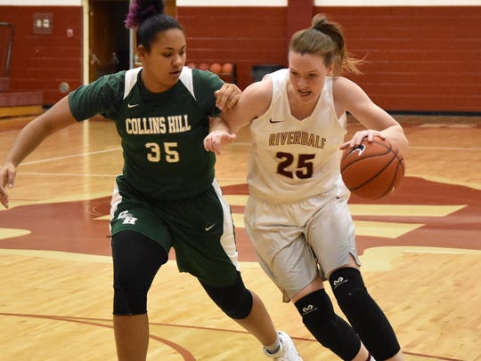 Riverdale's Alexis Whittington drives around Collins