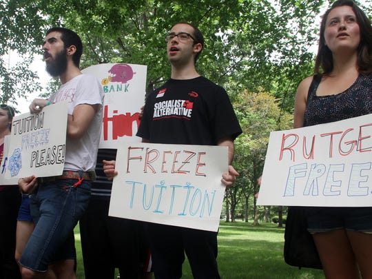 Rutgers students protested a proposed tuition increase in July 2013.