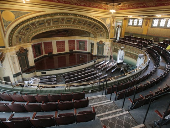 Memorial Hall's auditorium has been restored and carefully