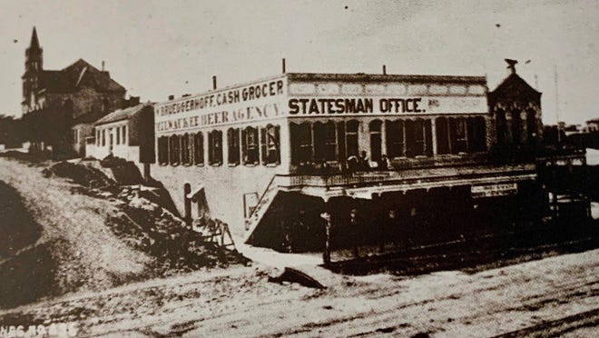 The Democratic Statesman moved to a larger building at Congress Avenue at West 10th Street in 1873.