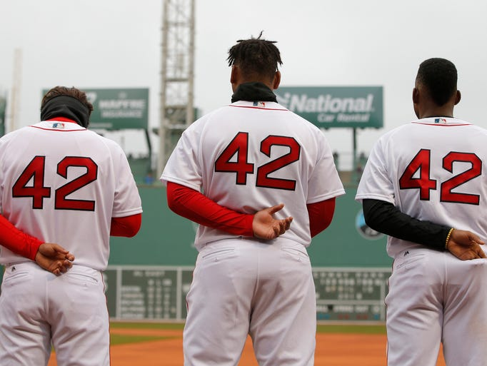 Red Sox players wear No. 42 in honor of Jackie Robinson