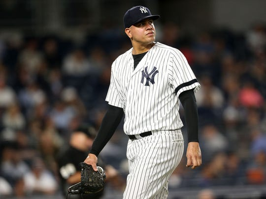 Yankees reliever Dellin Betances looks on after being taken out of the game in the top of the eighth inning against the Minnesota Twins on September 18, 2017 at Yankee Stadium in New York.