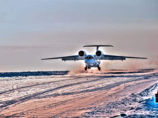 A Russian Antonov jet flew the runners to the icy North