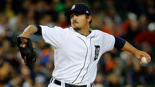 Tigers pitcher Blaine Hardy throws in the eighth inning of the Tigers' 9-3 win Saturday at Comerica Park.