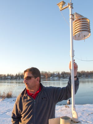 Green Oak Township resident Larry Wooden is following in his father's footsteps and tracking the local weather. While his father used pencil and paper to keep track of all things meteorological on their property on Fonda Lake, Wooden receives data from his personal weather station transmitted via Wi-Fi to a unit inside his home. The data is then forwarded to the Weather Underground.