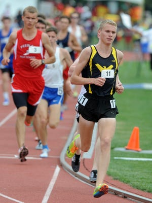 A state cross country champ in the fall and state indoor champ in the winter, Colonel Crawford junior Chad Johnson goes for a state title trifecta this spring.