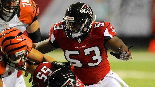 Atlanta Falcons linebacker Brian Banks (53) makes a play against the Cincinnati Bengals during the second half of their preseason game at the Georgia Dome in Atlanta on Aug. 8, 2013.
