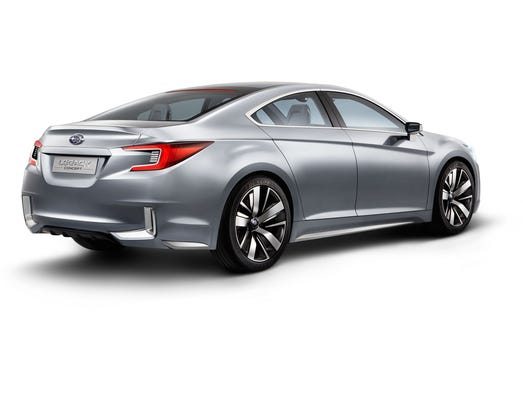 The new Subaru Legacy concept is stylish from the rear. It's being shown at the Los Angeles Auto Show next week