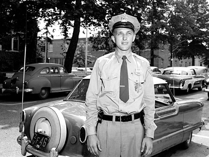 A Vineland police officer pictured here in 1956.
