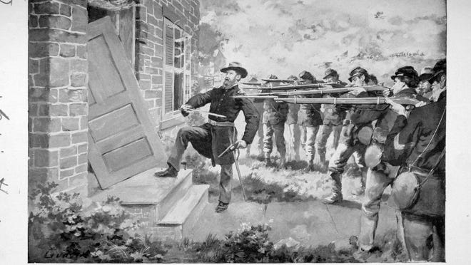 A drawing shows Vermont Capt. John Lonergan of Burlington breaking down a farmhouse door to capture Confederate soldiers on July 2, 1863, during the Battle of Gettysburg. He later was awarded the Medal of Honor.