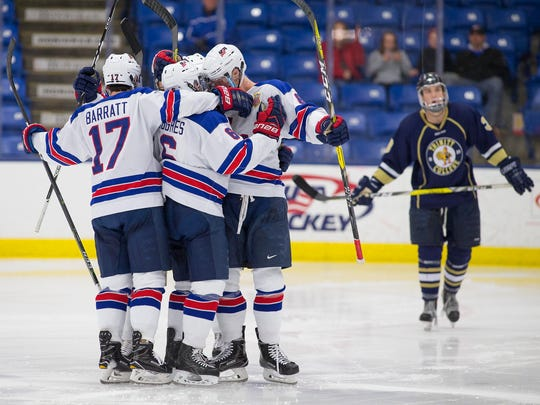 Celebrating a goal Friday afternoon are U.S. NTDP Under-18