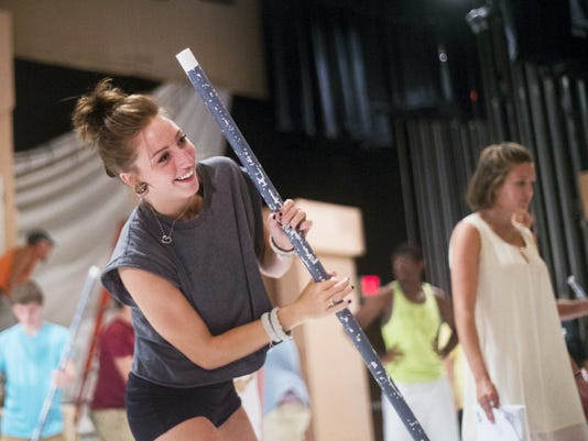 horeographer Sarah Flynn rehearses with cast members a dance scene Wednesday the Ecihelberger Performing Arts Center in Hanover for the production of 'Mary Poppins.'