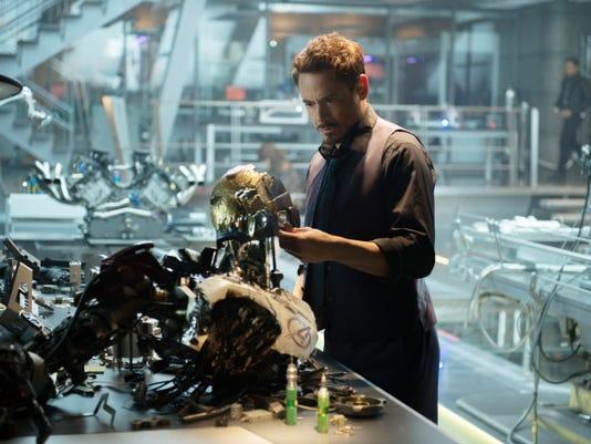 "Robert Downey Jr. as Iron Man/Tony Stark in ""Avengers: Age Of Ultron."""