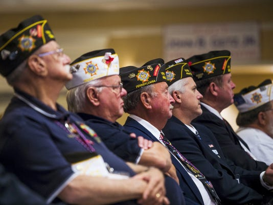 Veterans listen to Gov. Tom Wolf speak during the Veterans of Foreign Wars state convention Thursday at the Wyndham Hotel in Gettysburg.