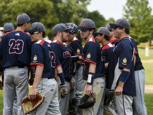 Dallastown players break their huddle during an American Legion baseball game against Hanover at Diller Field on June 11.