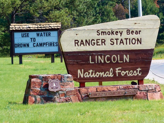 The Lincoln National Forest offices are closed Friday, but U.S. Forest Service officials posted their campfire warning for drivers to see as they enter or leave Ruidoso.