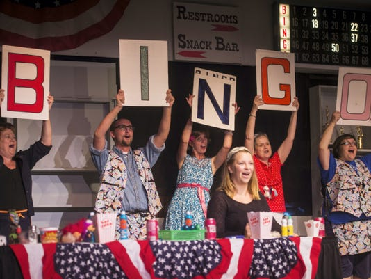 Cast members rehearse a scene from 'Bingo! The Winning Musical' on Tuesday at Hanover Little Theatre. From left: Bonnie Raubenstine, Adam Bish, Nicole Merkel, Sue Williamson, Grace Gravelle and Amalea Williams.