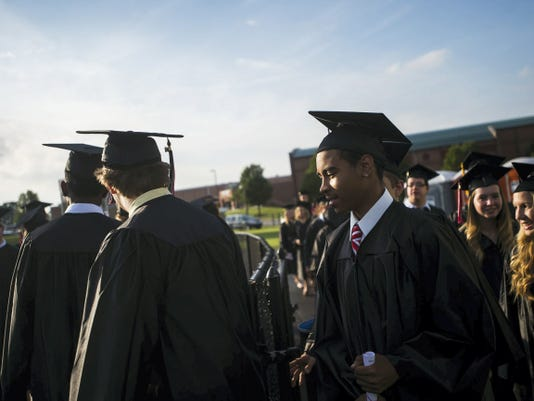 Nearly 80 percent of the class of 2015 has plans to go to college, school officials said during Friday night's commencement.