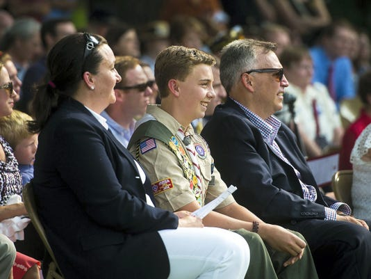 Eagle Scout candidate Andrew Adam reacts during the ceremony dedicating Unity Park in Gettysburg on July 5.