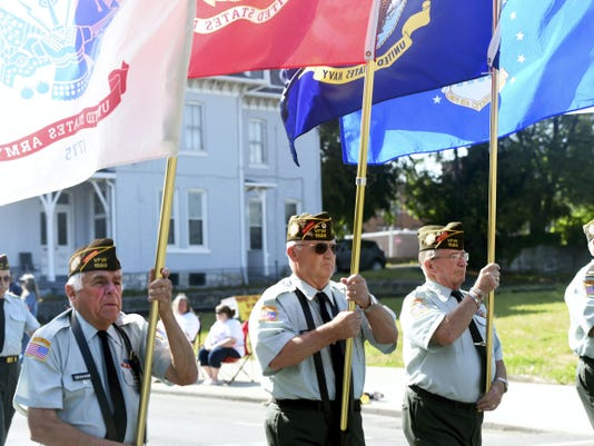 Ryan Blackwell — Public Opinion The color guard from VFW Post 1599 march Monday during the Memorial Day Parade in downtown Chambersburg.