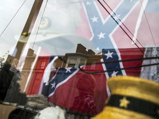 A Confederate flag is seen on display in Gettysburg on Baltimore Street in the past week.