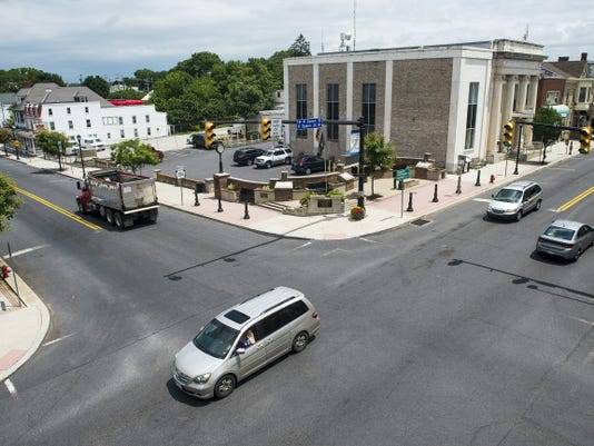 A view from the third floor of 1 West King Street shows traffic moving through the Littlestown square Wednesday