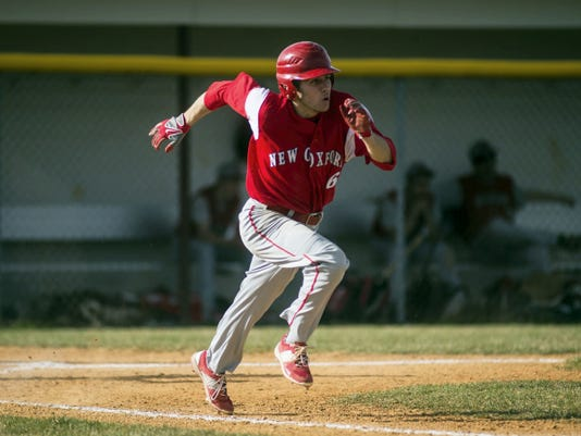 New Oxford's Keegan Romanoff takes off for first base during Monday's game against Bermudian Springs. Romanoff finished with three hits, three runs scored and two RBIs in the Colonials' 13-3, six-inning victory.