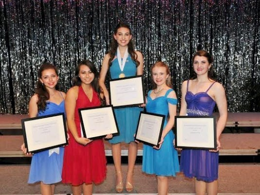 Winners and runners-up from the Distinguished Young Women of York County contest, from left to right, Devon Hornberger, Caitlyn Parker, Rose Arbittier, Anna Hallett, and Emily Salter. These are the winner and runners-up.