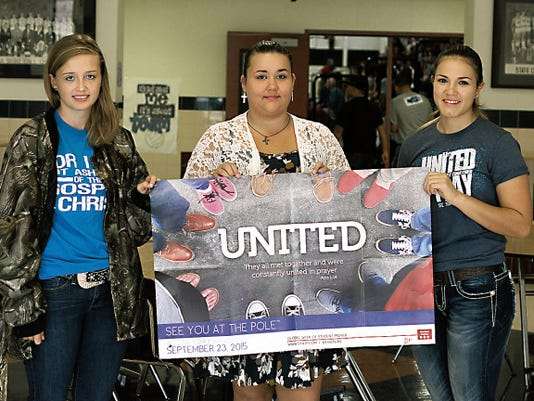 "From left are Deming High Fellowship of Christian Athletes members, Jessica Brandon, Jasmine Sheridan and Aubrey Sandoval. They invite students and the community to the ""See Youth at the Pole"" event at 7 a.m., on Wednesday in front of the DHS main entrance."
