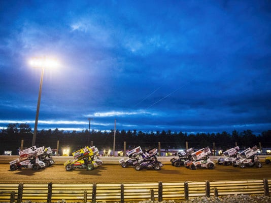 Racers in the second heat, led by Shane Stewart (2), take off during Wednesday's Gettysburg Clash at Lincoln Speedway. Thomasville racer Greg Hodnett won the feature against the World of Outlaw drivers.
