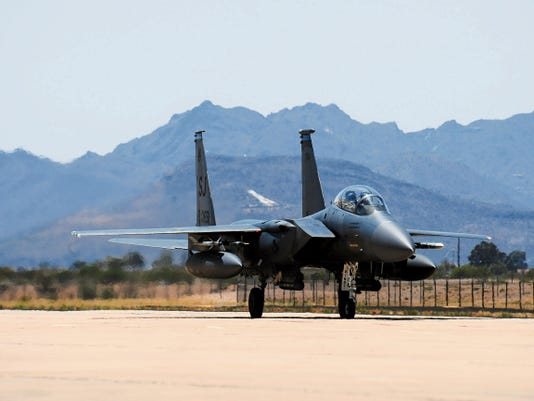 An F-15E Strike Eagle from Seymour Johnson Air Force Base, N.C. taxis to a ramp at Davis-Monthan Air Force Base, Arizona, June 19.  Fourteen Strike Eagles, as well as their pilots and weapons officers, visited D-M and its surrounding ranges for training.